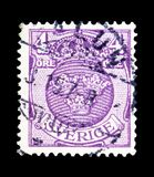 Small Coat of arms, serie, circa 1910. MOSCOW, RUSSIA - MAY 15, 2018: A stamp printed in Sweden shows Small Coat of arms, serie, circa 1910 royalty free stock image