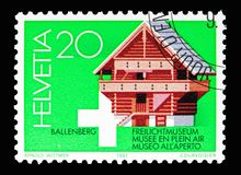 Storage shed of Kiesen (17th Cty.), serie, circa 1981. MOSCOW, RUSSIA - MAY 13, 2018: A stamp printed in Switzerland shows Storage shed of Kiesen ( royalty free stock photos