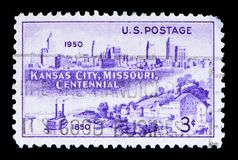 Kansas City Skyline, 1950 and Westport Landing, 1850, serie, cir. MOSCOW, RUSSIA - MAY 15, 2018: A stamp printed in USA shows Kansas City Skyline, 1950 and stock images