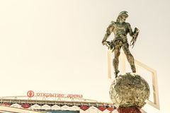 Statue of Spartacus at Spartak stadium in Moscow stock image