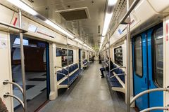 Moscow, Russia may 26, 2019 interior of the subway train stock image