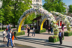 Moscow, Russia -may 14.2016. Theatre Square is decorated with arches with flowers - Spring Festival Moscow Royalty Free Stock Photo