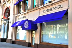 Tiffany flagship store, Petrovka street, Moscow. MOSCOW, RUSSIA - MAY 02: Tiffany flagship store, Petrovka street, Moscow on May 2, 2018 Stock Images