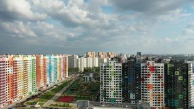 Beautiful area. Moscow, Russia - May 26, 2019: Top view of the new colorful residential area of Moscow on a summer evening stock video