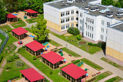 Moscow, Russia - May 13.2016. Top view of  typical kindergarten in Zelenograd Royalty Free Stock Photo
