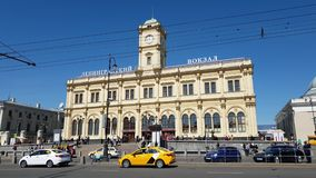 Moscow, Russia - May 12. 2018 Traffic in front of Leningrad station.