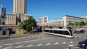 Moscow, Russia - May 22. 2018. tram rides on bridge at Komsomolskaya Square. Moscow, Russia - May 22. 2018. tram rides on the bridge at Komsomolskaya Square stock video