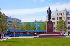 Tverskaya Zastava Square and monument to writer  Maxim Gorky  in Royalty Free Stock Photos