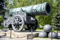 Tzar Cannon. Moscow, Russia - May 7, 2010: the Tzar Cannon, the largest by caliber cannon in the world on display on the grounds of the Moscow Kremlin Royalty Free Stock Photo