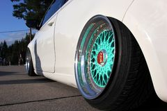 Moscow. Russia - May 20, 2019: Moscow. Russia - May 20, 2019: Unique tuned alloy BBS wheels  in mint color with large polished. Shelves. The camber toe is set royalty free stock image