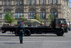 Unmanned aerial vehicle Katran on Red Square during the parade dedicated to the Victory Day. MOSCOW, RUSSIA - MAY 9, 2018: The unmanned aerial vehicle Katran on Stock Images