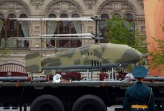 The unmanned aerial vehicle Katran on Red Square during the rehearsal of the Victory Parade. MOSCOW, RUSSIA MAY 6, 2018: The unmanned aerial vehicle Katran on royalty free stock photography