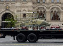 The unmanned aerial vehicle Katran on Red Square during the rehearsal of the Victory Parade. stock photography