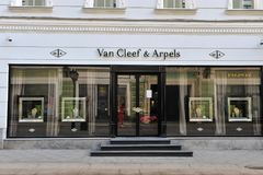 Van Cleef & Arpels flagship store. MOSCOW, RUSSIA - MAY 02: Van Cleef & Arpels flagship store, Moscow on May 2, 2018 Stock Photo