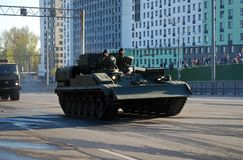 Around the city the armored recovery vehicle BREM-1. Moscow. Russia. May 3, 2017. The Victory Day parade rehearsal for May 9. Around the city the armored stock photography