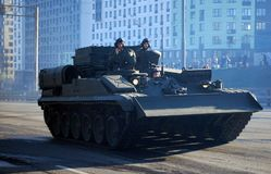 Around the city the armored recovery vehicle BREM-1. Moscow. Russia. May 3, 2017. The Victory Day parade rehearsal for May 9. Around the city the armored stock photo
