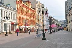 View of Arbat pedestrian shopping street, Moscow. MOSCOW, RUSSIA - MAY 02: View of Arbat pedestrian shopping street, Moscow on May 2, 2018. Arbat is the first Royalty Free Stock Images