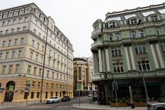 Moscow, Russia may 25, 2019 view of Baltschug street, ancient architecture of houses stock images