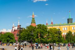 Moscow, Russia - May 14. 2016. View of Kremlin from the Manezhnaya Square Royalty Free Stock Image