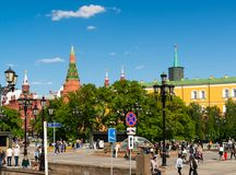 Moscow, Russia - May 14. 2016. View of Kremlin from the Manezhnaya Square Stock Photography
