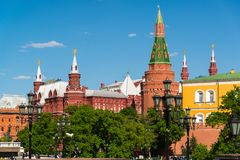 Moscow, Russia - May 14. 2016. View of Kremlin from the Manezhnaya Square Royalty Free Stock Photography