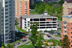 Moscow, Russia - May 13.2016. View of parking garage in Zelenograd Royalty Free Stock Photography