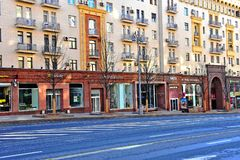 View of the stores in Tverskaya shopping street, Moscow. MOSCOW, RUSSIA - MAY 02: View of the stores in Tverskaya shopping street, Moscow on May 2, 2018 Stock Photo