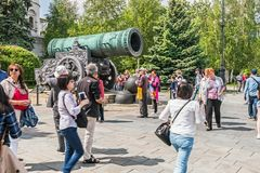 Tsar cannon Tsar Pushka on the Ivanovskaya square in the Kreml. Moscow, Russia-may 23, 2018: the view from the Tsar cannon Tsar Pushka on the Ivanovskaya square stock photography