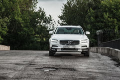 MOSCOW, RUSSIA - MAY 3, 2017 VOLVO V90 CROSS COUNTRY, front-side view. Test of new Volvo V90 Cross Country. This car is AWD SUV wi Royalty Free Stock Photo