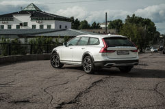 MOSCOW, RUSSIA - MAY 3, 2017 VOLVO V90 CROSS COUNTRY, front-side view. Test of new Volvo V90 Cross Country. This car is AWD SUV wi Royalty Free Stock Photography