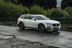 MOSCOW, RUSSIA - MAY 3, 2017 VOLVO V90 CROSS COUNTRY, front-side view. Test of new Volvo V90 Cross Country. This car is AWD SUV wi Stock Image