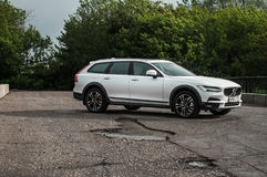 MOSCOW, RUSSIA - MAY 3, 2017 VOLVO V90 CROSS COUNTRY, front-side view. Test of new Volvo V90 Cross Country. This car is AWD SUV wi Stock Photos