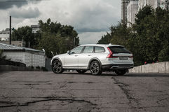 MOSCOW, RUSSIA - MAY 3, 2017 VOLVO V90 CROSS COUNTRY, front-side view. Test of new Volvo V90 Cross Country. This car is AWD SUV wi Stock Images