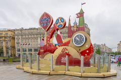 MOSCOW ,RUSSIA - MAY 20 2018 Watch on the square in Moscow considering the time before the World Cup 2018 in Russia Royalty Free Stock Image