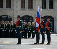 The well-known group of the guard of honor at a military parade in commemoration of the 73rd anniversary of the Victory. MOSCOW, RUSSIA MAY 09, 2018: The well stock images