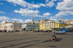 Moscow, Russia - May 12, 2018. General view of Yauzskaya Street is one of oldest streets of city Stock Photos