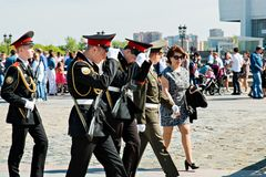 Moscow,Russia, May 9, 2018: young cadets in full dress in honor of the Victory day celebration royalty free stock photos