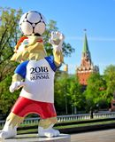 Zabivaka, mascot of football World Cup Russia 2018 and Kremlin t Stock Photos