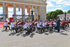 MOSCOW, RUSSIA - 12.06.2015. Military orchestra in Gorky Park during the celebration of the Day of Russia Royalty Free Stock Photography