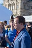 Moscow, Russia, Minister of Culture of the Russian Federation Vladimir Medinsky at the Open Book Fair on the Red Squ. Moscow, Russia, 02 June 2018: Minister of stock image