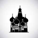 Moscow russia momument. Silhouette of St Basil Cathedral in Red Square, Moscow, Russia. Vector illustration Stock Image