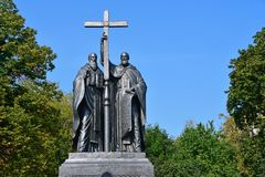 Moscow, Russia, September, 01, 2018. Monument to Cyril and Methodius on Slavyanskaya square in autumn. Moscow, Russia. Monument to Cyril and Methodius on stock photography