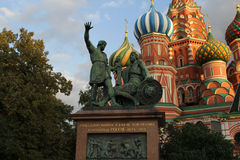 Moscow, Russia. Monument to Minin and Pozharsky on Red Square. Moscow, Russia. Red Square. Monument to Minin and Pozharsky in front of Saint Basil's Cathedral Stock Photography