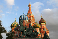 Moscow, Russia. Monument to Minin and Pozharsky on Red Square Stock Photos