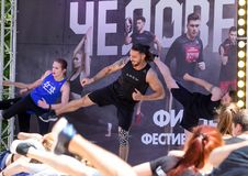 Fitness festival on air in the park. Festival of healthy lifestyle. Sport in the modern life. stock image