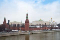 Moscow, Russia. Moscow Kremlin On Coast Of Moskva River. Moscow, Russia. Moscow Kremlin On Coast Of Moskva River Under Dramatic Sky Winter Stock Photography