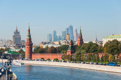 MOSCOW, RUSSIA - 21.09.2015.  the Moscow Kremlin and  international business center Moscow-City Royalty Free Stock Photography