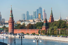 MOSCOW, RUSSIA - 21.09.2015.  the Moscow Kremlin and  international business center Moscow-City Royalty Free Stock Photo