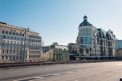 Moscow, Russia - 09.21.2015. Moscow Main Territorial Department of Central Bank of the Russian Federation and Hotel Baltschug Kemp Royalty Free Stock Photography