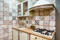 Moscow, russia, 01.02.2019: New modern kitchen interior in luxury home stock photo